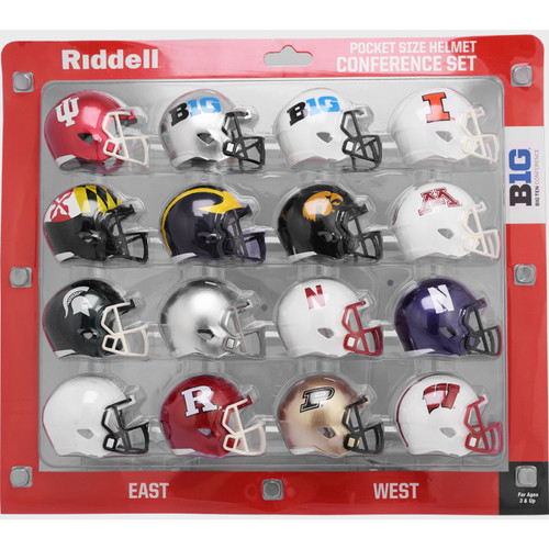 2020 NCAA Big Ten 10 Conference Pocket Pro Speed Revolution Mini Helmets Set by Riddell
