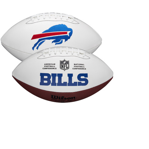 Buffalo Bills Full Size Official NFL Autograph Signature Series White Panel Football by Wilson