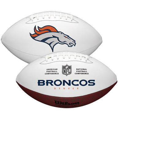 Denver Broncos Full Size Official NFL Autograph Signature Series White Panel Football by Wilson