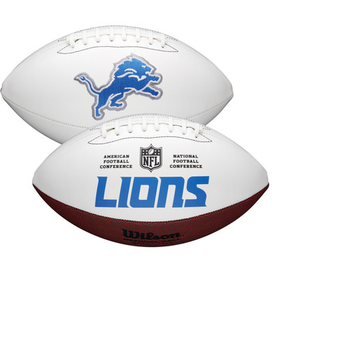 Detroit Lions Full Size Official NFL Autograph Signature Series White Panel Football by Wilson