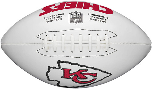 Kansas City Chiefs Full Size Official NFL Autograph Signature Series White Panel Football by Wilson