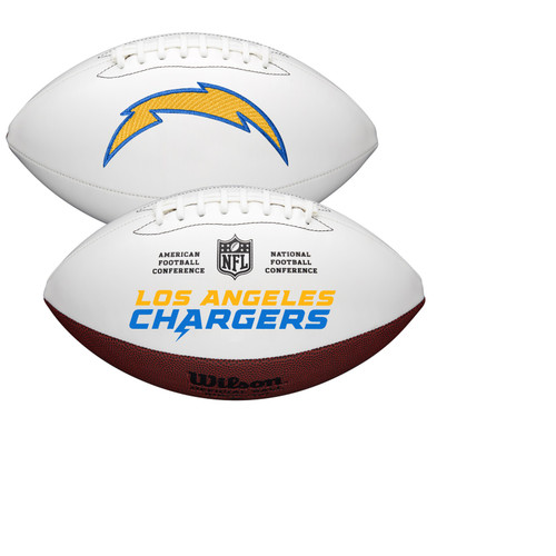 Los Angeles Chargers Full Size Official NFL Autograph Signature Series White Panel Football by Wilson