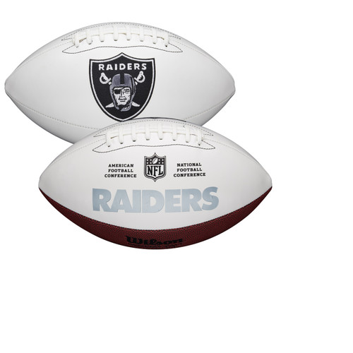 Las Vegas Raiders Full Size Official NFL Autograph Signature Series White Panel Football by Wilson