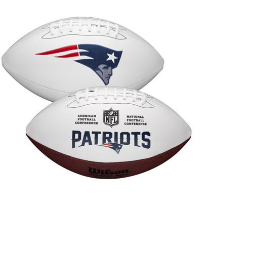 New England Patriots Full Size Official NFL Autograph Signature Series White Panel Football by Wilson