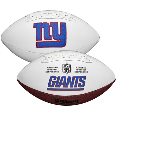 New York Giants Full Size Official NFL Autograph Signature Series White Panel Football by Wilson