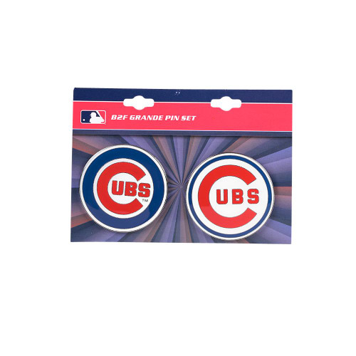 """Chicago Cubs MLB Jumbo Grande 2"""" Lapel Pin Set of 2 (Current and Retro Logos)"""