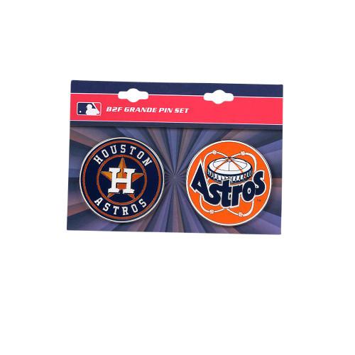 "Houston Astros MLB Jumbo Grande 2"" Lapel Pin Set of 2 (Current and Retro Logos)"