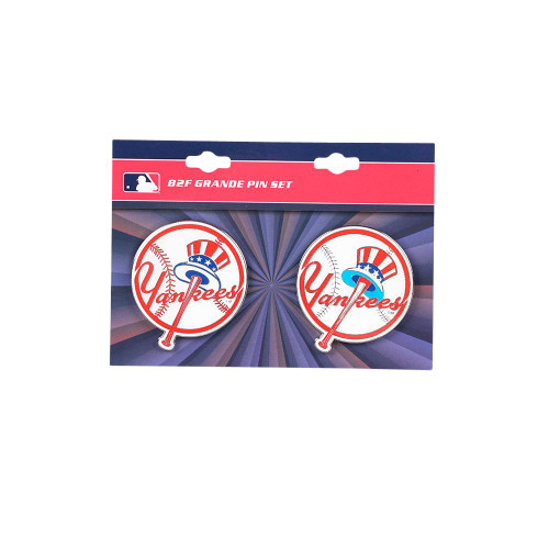 "New York Yankees MLB Jumbo Grande 2"" Lapel Pin Set of 2 (Current and Retro Logos)"