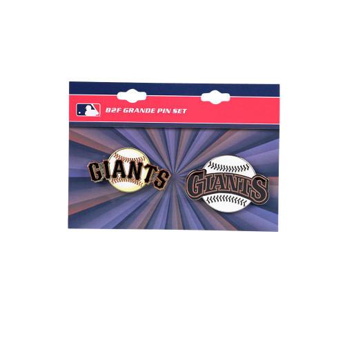 "San Francisco Giants MLB Jumbo Grande 2"" Lapel Pin Set of 2 (Current and Retro Logos)"