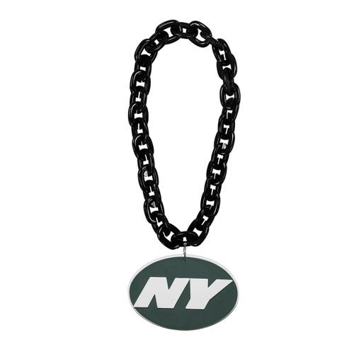 New York Jets NFL Touchdown Fan Chain 10 Inch 3D Foam Magnet Necklace Black