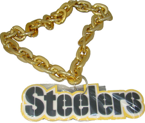 Pittsburgh Steelers NFL Touchdown Fan Chain 10 Inch 3D Foam Magnet Necklace Gold Chain