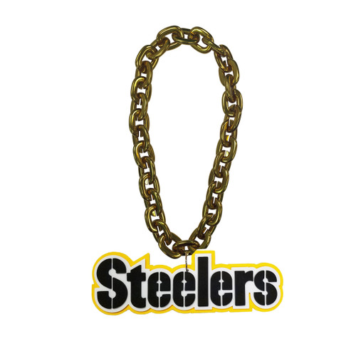 Pittsburgh Steelers NFL Touchdown Fan Chain 10 Inch 3D Foam Magnet Necklace Gold