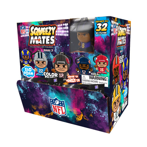 SqueezyMates NFL Gravity Feed Figurines Mystery Box (24 packs) SERIES 3 COLOR RUSH