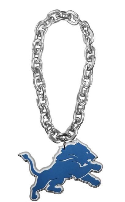 Detroit Lions NFL Touchdown Fan Chain 10 Inch 3D Foam Magnet Necklace - Silver