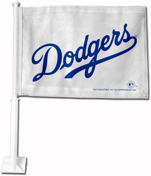 MLB Los Angeles Dodgers Car Flag - WHITE