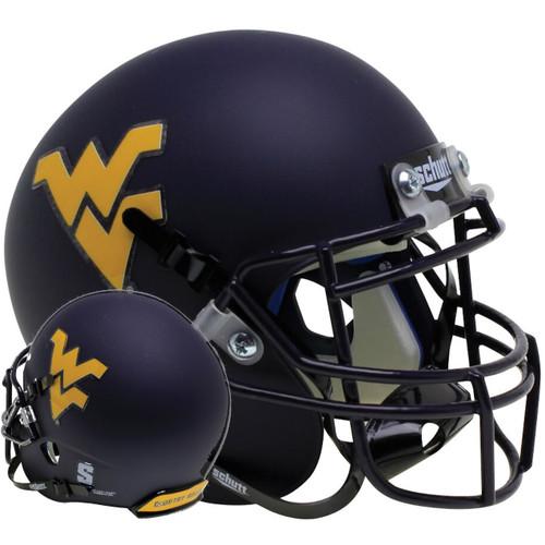 West Virginia Mountaineers Country Roads Bumper Schutt Authentic Mini Football Helmet