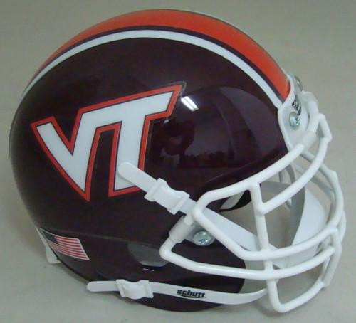 Virginia Tech Hokies Maroon Beamer Schutt Mini Authentic Football Helmet