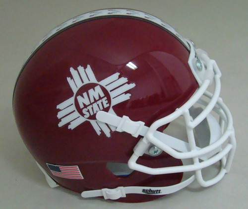 New Mexico State Aggies Alternate Red with Stripe Schutt Mini Authentic Football Helmet