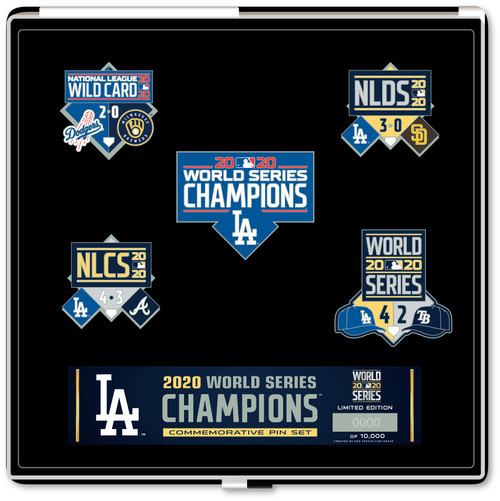 Los Angeles Dodgers 2020 World Series Champions 5-Piece Boxed Lapel Pin Set