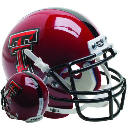 Texas Tech Red Raiders Alternate red Guns Up Schutt Mini Authentic Football Helmet