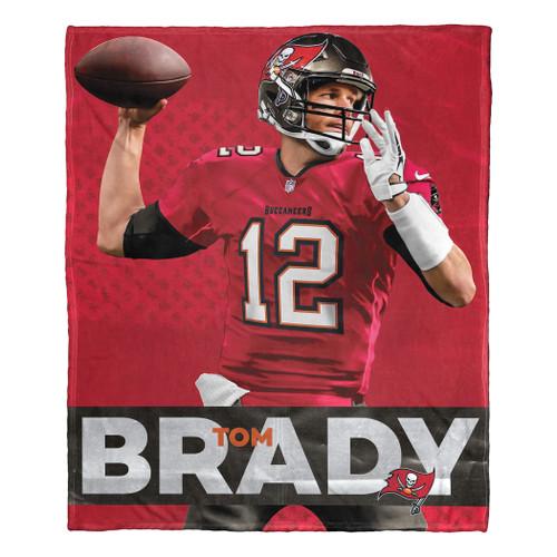 "Tom Brady NFL Tampa Bay Buccaneers Silk Touch Throw Blanket Size 50"" x 60"""