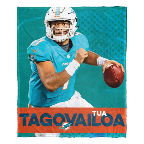 "Tua Tagovailoa NFL Miami Dolphins Silk Touch Throw Blanket Size 50"" x 60"""