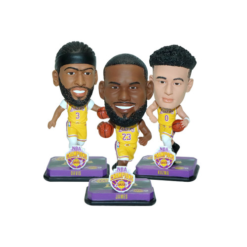 Los Angeles Lakers 2020 NBA Finals Champions Mini Bobblehead 3-pack Set
