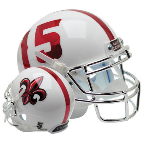Louisiana-Lafayette Ragin Cajuns Alternate White Chrome Schutt Mini Authentic Football Helmet