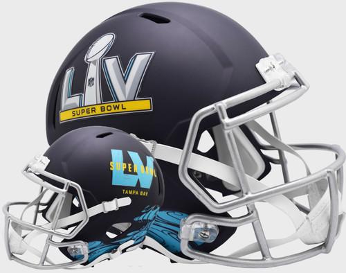 Super Bowl LV 55 Riddell Flat Navy Blue SPEED REPLICA Full Size Football Helmet - Tampa Bay, FL.