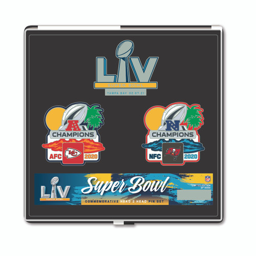 Super Bowl LV 55 Kansas City Chiefs vs. Tampa Bay Buccaneers Dueling Pin Set - Limited to only 5,000 made