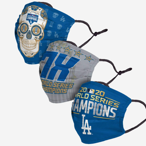 Los Angeles Dodgers World Series Champions Adjustable 3 PACK Face Cover Guard Mask Facemask