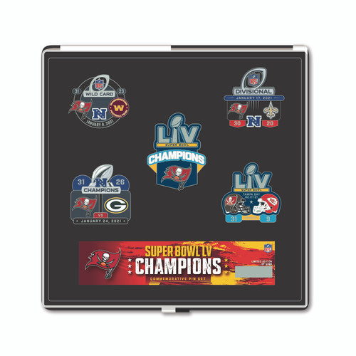 Tampa Bay Buccaneers Super Bowl LV 55 Champions Commemorative 5 Pin Set - Limited Edition