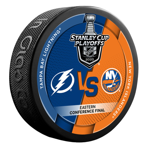 2020 NHL Stanley Cup Playoff Eastern Conference Dueling Souvenir Puck - Tampa Bay Lightning vs. New York Islanders