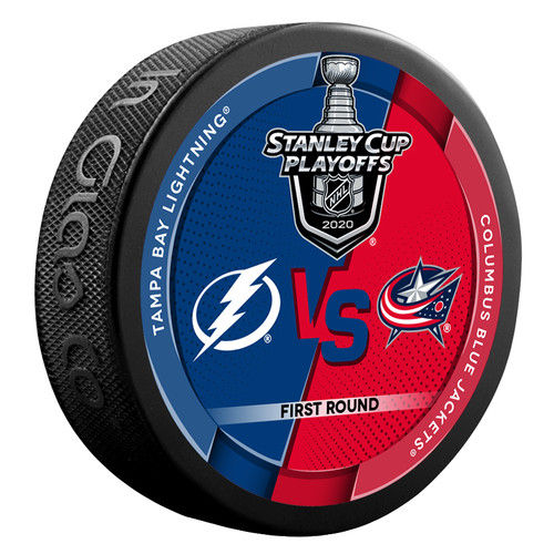 2020 NHL Stanley Cup Playoff Round 1 Tampa Bay Lightning vs. Columbus Blue Jackets Dueling Souvenir Puck