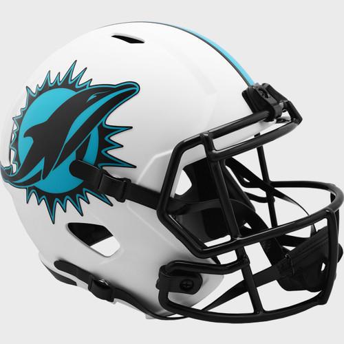 Miami Dolphins White 2021 LUNAR Speed Replica Full Size Football Helmet
