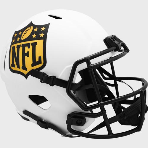 NFL Shield Gold Logo Matte White 2021 LUNAR Speed Replica Full Size Football Helmet