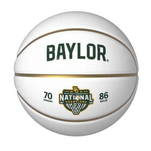 2021 NCAA National Champions Baylor Bears White panel Trophy Championship Full Size Basketball