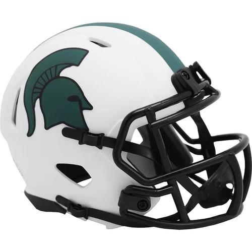 Michaigan State Spartans Lunar White Revolution Speed Mini Football Helmet