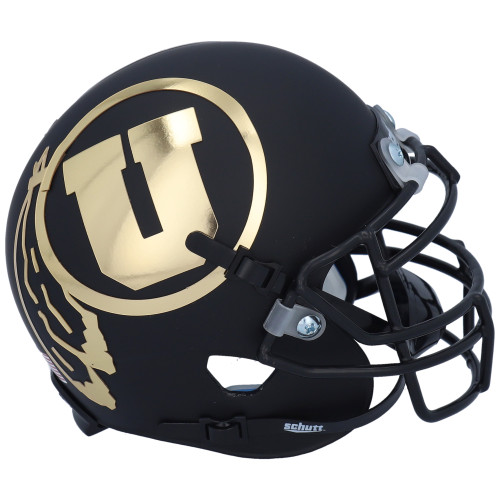 Utah Utes Collectors Matte Black Gold Chrome Alternate Schutt Mini Authentic Football Helmet