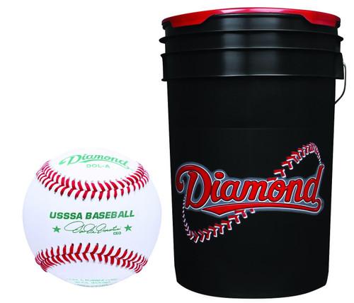 Diamond 6-Gallon Ball Bucket with 30 USSSA DOL-A Baseballs