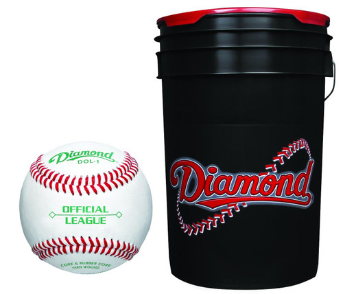 Diamond 6-Gallon Ball Bucket with 30 Leather Grade DOL-1 OL Official League Baseballs