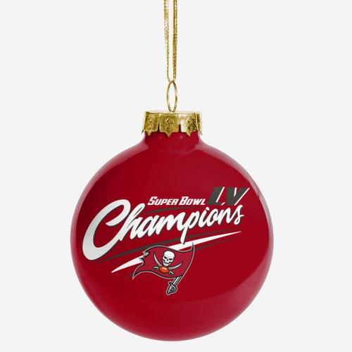 Tampa Bay Buccaneers Super Bowl LV Champions Glass Ball Christmas Ornament