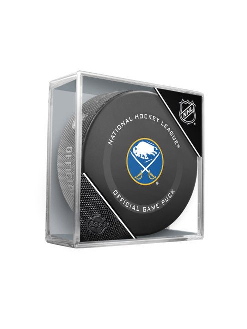 Buffalo Sabres Inglasco Official NHL Game Puck in Cube