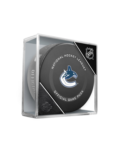 Vancouver Canucks Inglasco Official NHL Hockey Game Puck in Cube 2021 Version