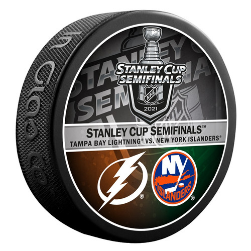 2021 NHL Stanley Cup Playoff Eastern Conference Dueling Souvenir Puck - Tampa Bay Lightning vs. New York Islanders