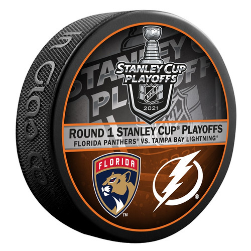 2021 NHL Stanley Cup Playoff Round 1 Tampa Bay Lightning vs. Florida Panthers Dueling Souvenir Puck