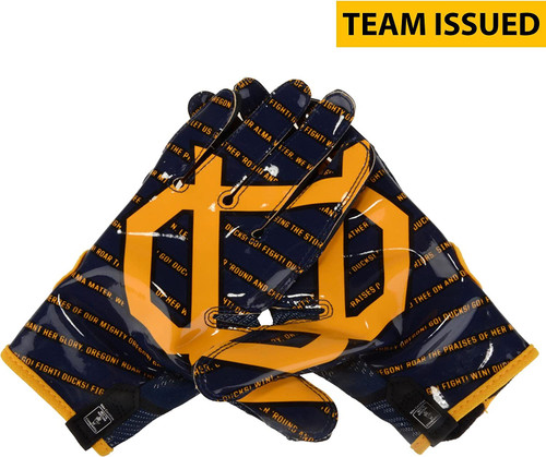 NIKE FLY KNIT TEAM ISSUED NCAA OREGON DUCKS ADULT FOOTBALL RECEIVER GLOVES
