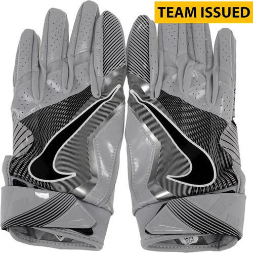 Oregon Ducks Team Issued Silver Vapor Jet 4 Nike Football Receiver Gloves - Size Medium