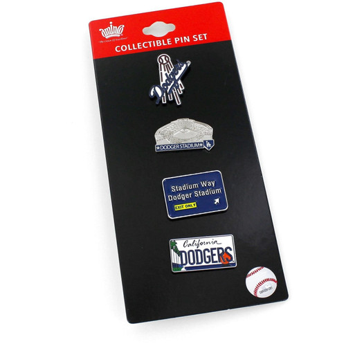 Los Angeles Dodgers Hometown Baseball 4 Piece Lapel Pin Set in package