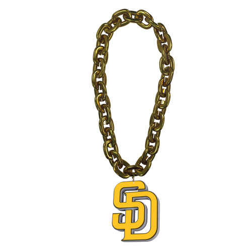 San Diego Padres MLB Fan Chain 10 Inch 3D Foam Magnet Necklace Gold